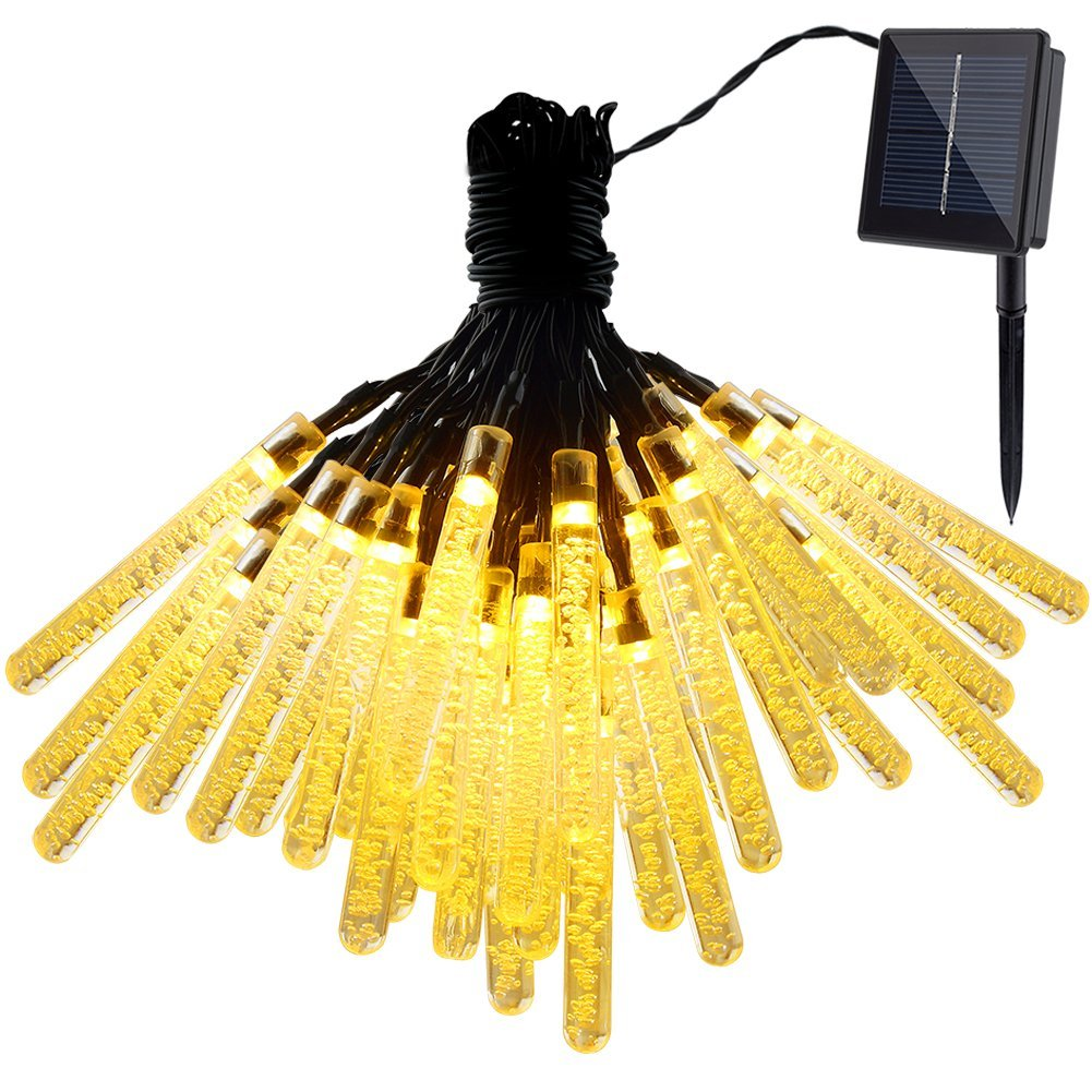 GDEALER 21ft 30LED Waterproof Outdoor Ice Piton Solar String Lights