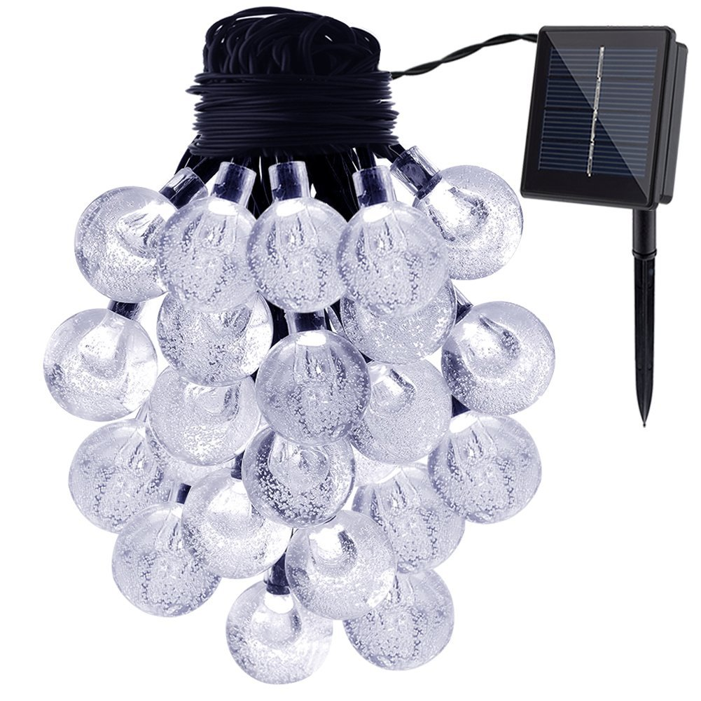 gdealer waterproof 20ft 30 led white crystal ball solar string lights