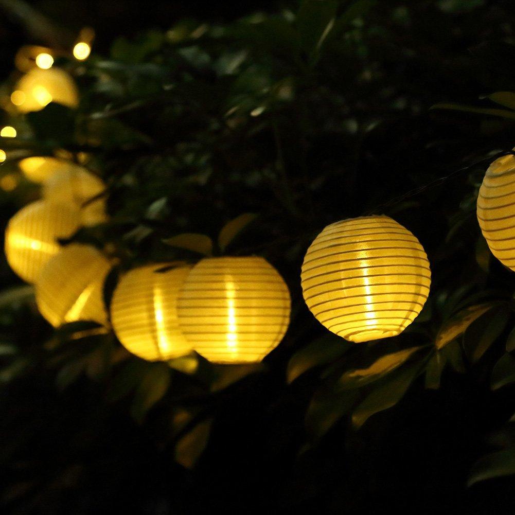 GDEALER Lantern Solar String Lights 24ft 30Led Folding Waterproof ...