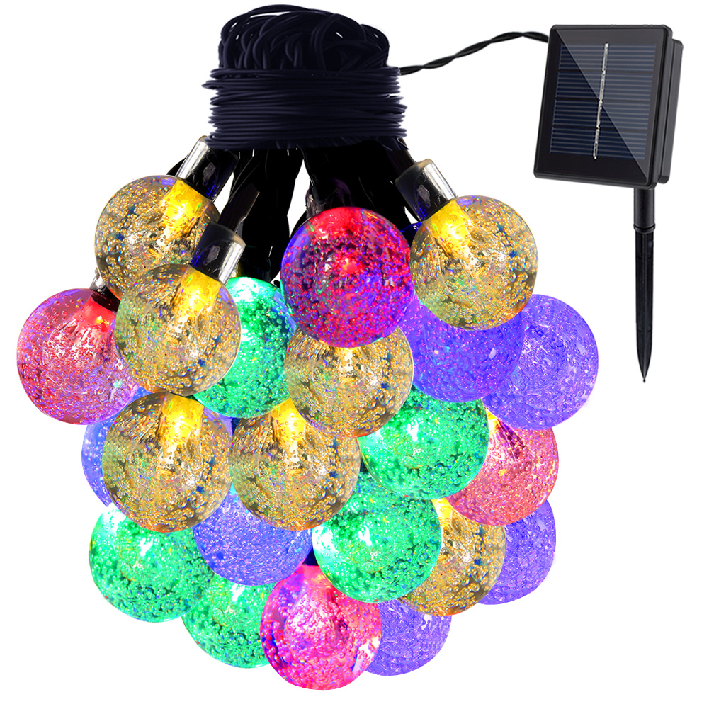 GDEALER Solar String Lights 20ft 30 LED Crystal Ball Waterproof Outdoor String Lights Solar Powered Globe Fairy String Lights for Outside Garden, Yard, Home, Landscape, Halloween Christmas Party