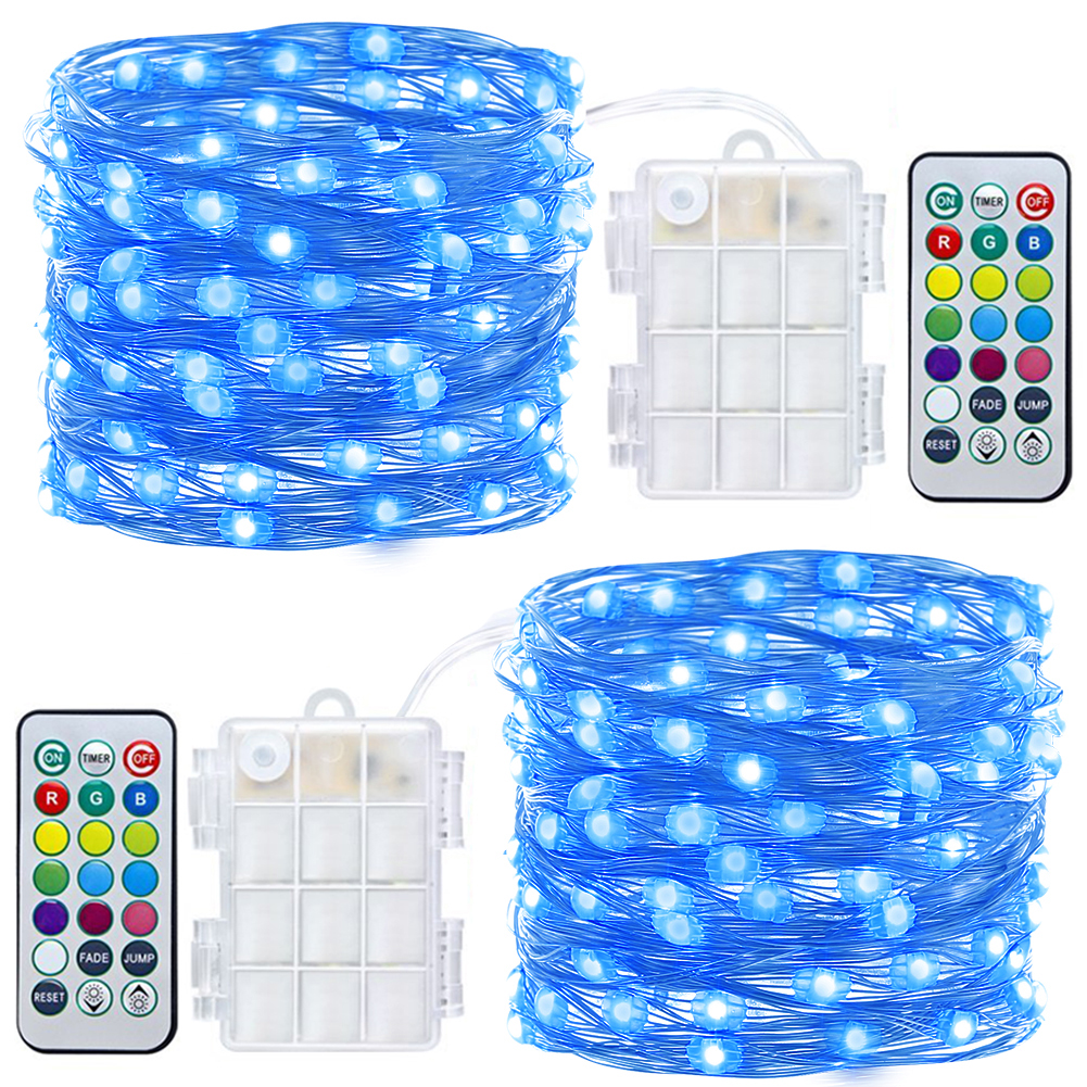 2 Pack Fairy Lights Waterproof 8 Modes 60 LED 20ft Fairy String Lights Battery Operated String Lights with Remote and Timer Firefly Lights Christmas Decor Blue