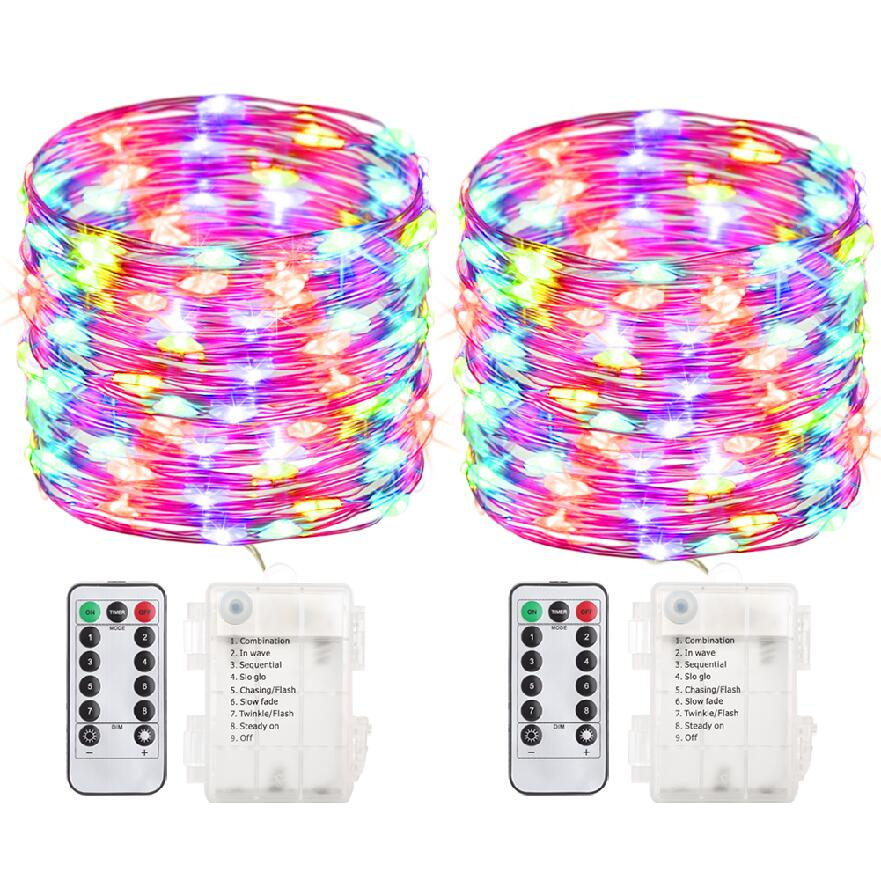 gdealer 2 pack 100 led string lights fairy lights battery operated waterproof fairy string lights with remote control timer 8 modes 33ft copper wire