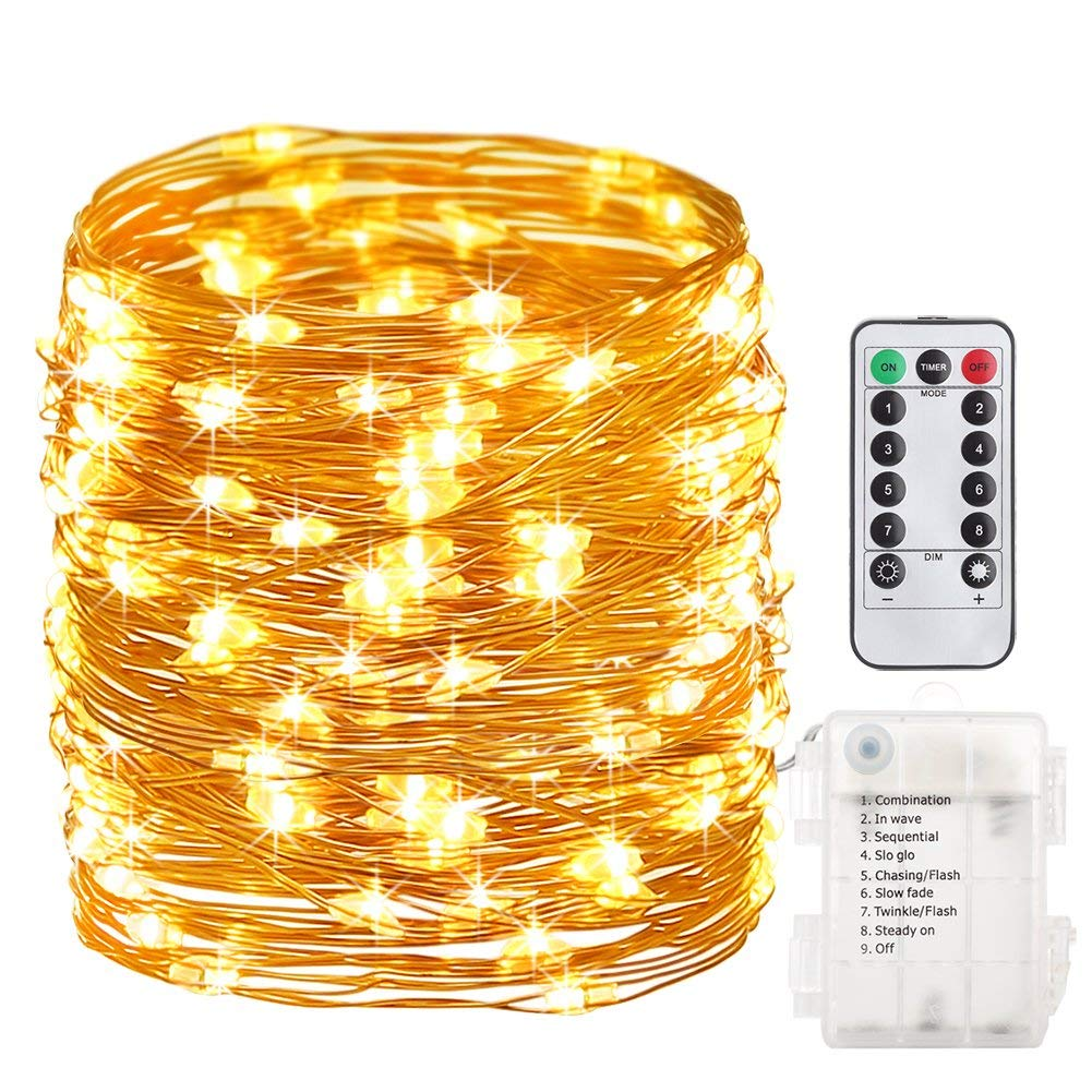 GDEALER 8 Modes 33ft 100LED String Lights with Remote Control