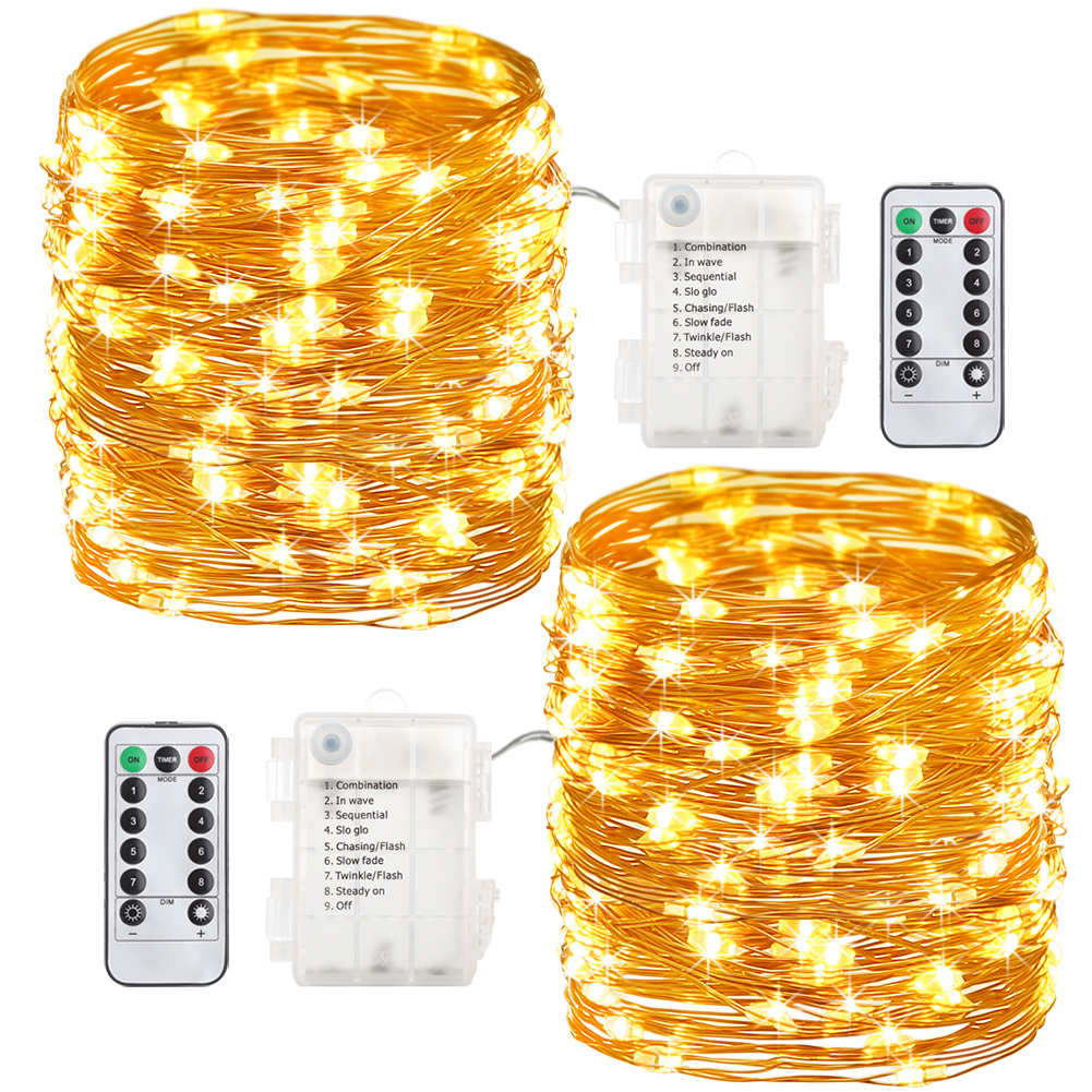 GDEALER 2 Pack 33 Feet 100 Led Fairy Lights Battery Operated with Remote Control Timer Waterproof Copper Wire Twinkle String Lights for Bedroom Indoor Outdoor Wedding Dorm Decor Warm White