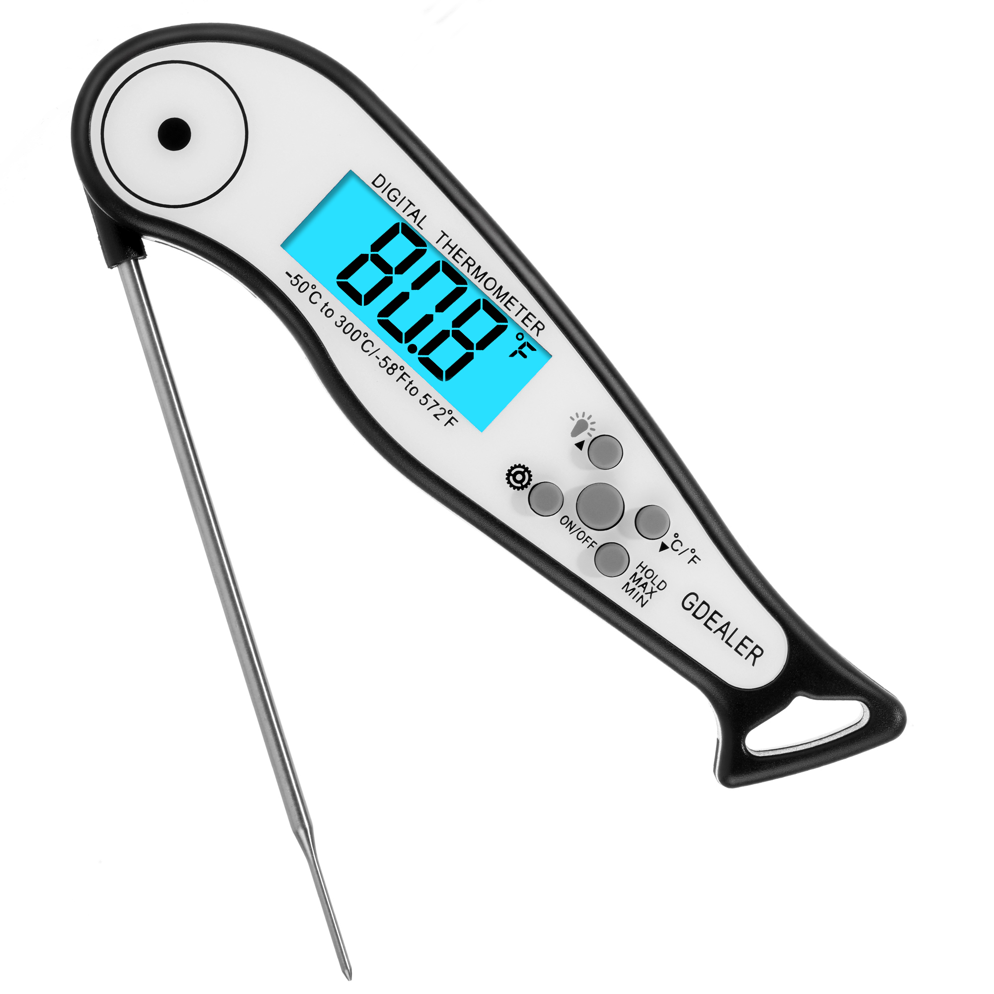 GDEALER Alarm Meat Thermometer Waterproof Super Fast Instant Read Thermometer with Calibration Function Back-lit Digital BBQ thermometer Kitchen Cook Thermometer for Grill Smoker Food,Candy,Milk by GDEALER