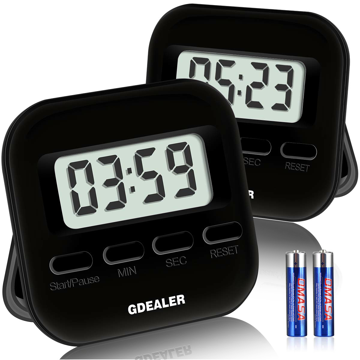 GDEALER 001 Digital Kitchen Timer 2x2.5 inch Black