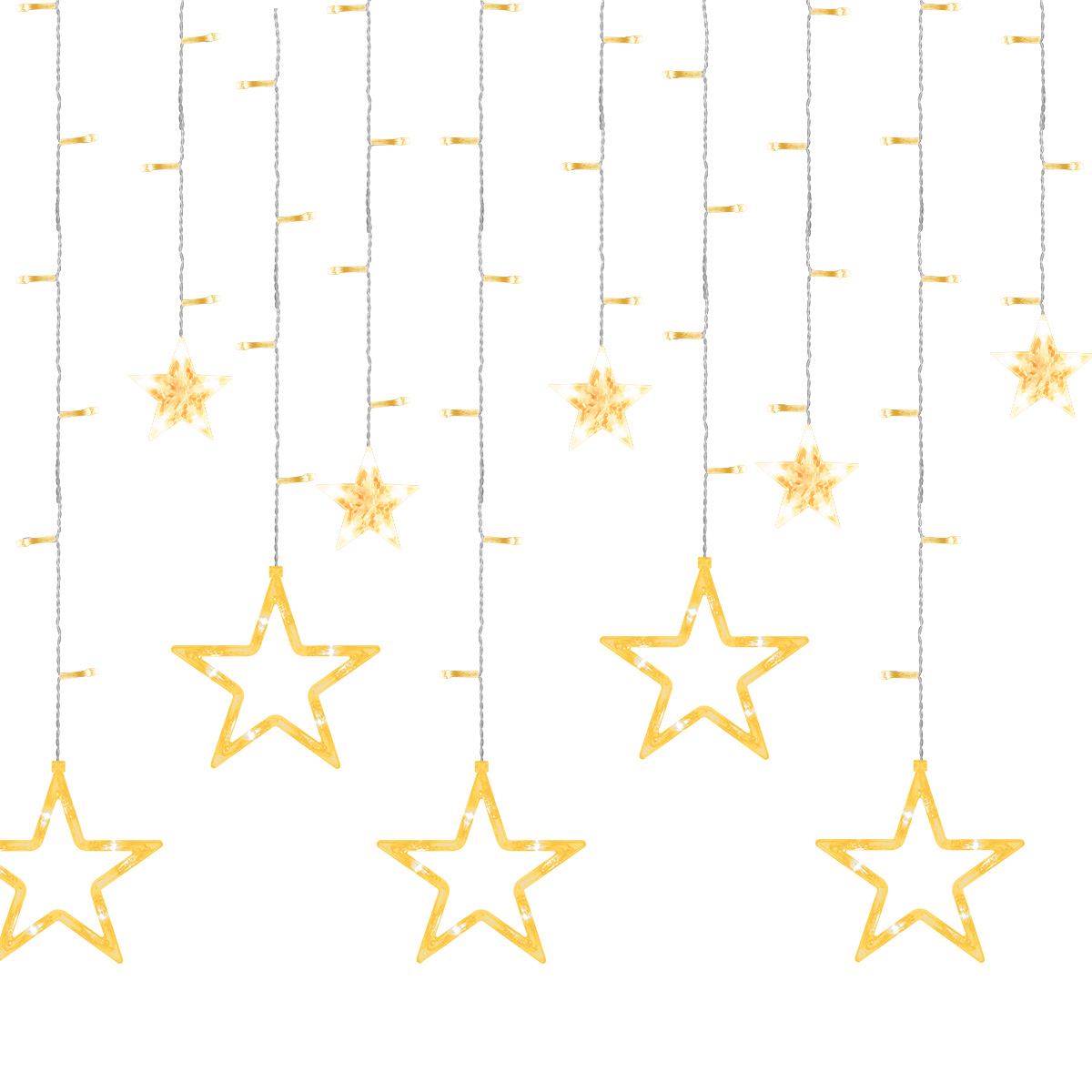 GDEALER Twinkle Star 12 Stars 138 LED Curtain String Lights, Window Curtain Lights Fairy Lights for Wedding Party Bedroom,Hanging Lights Twinkle Lights Christmas Lights Wall Decor Warm White