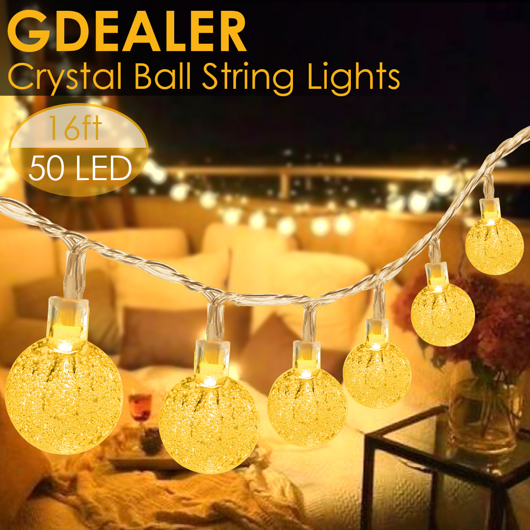 GDEALER 16 FT 50 LED Globe Lights Clearer Brighter Crystal Ball Fairy Lights with Remote Twinkle Lights Decor for Indoor Outdoor Home Party Wedding Bedroom Garden Warm White